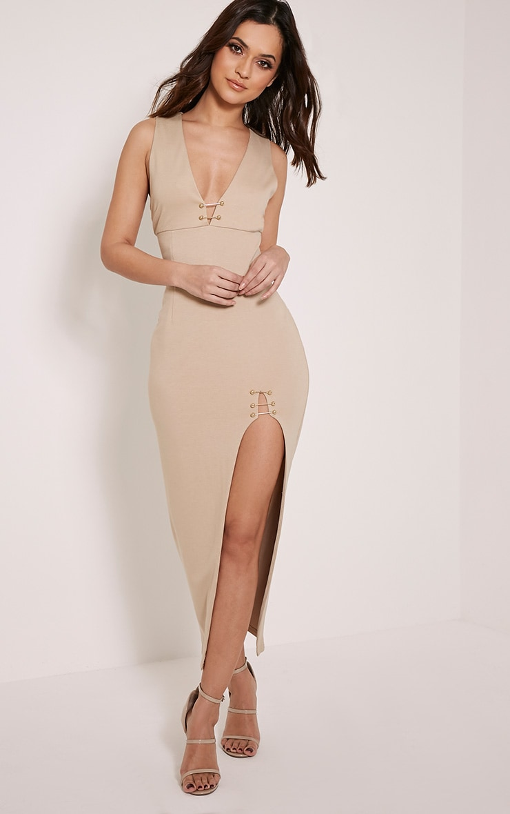 Ally Taupe Pin Detail Plunge Midi Dress 1