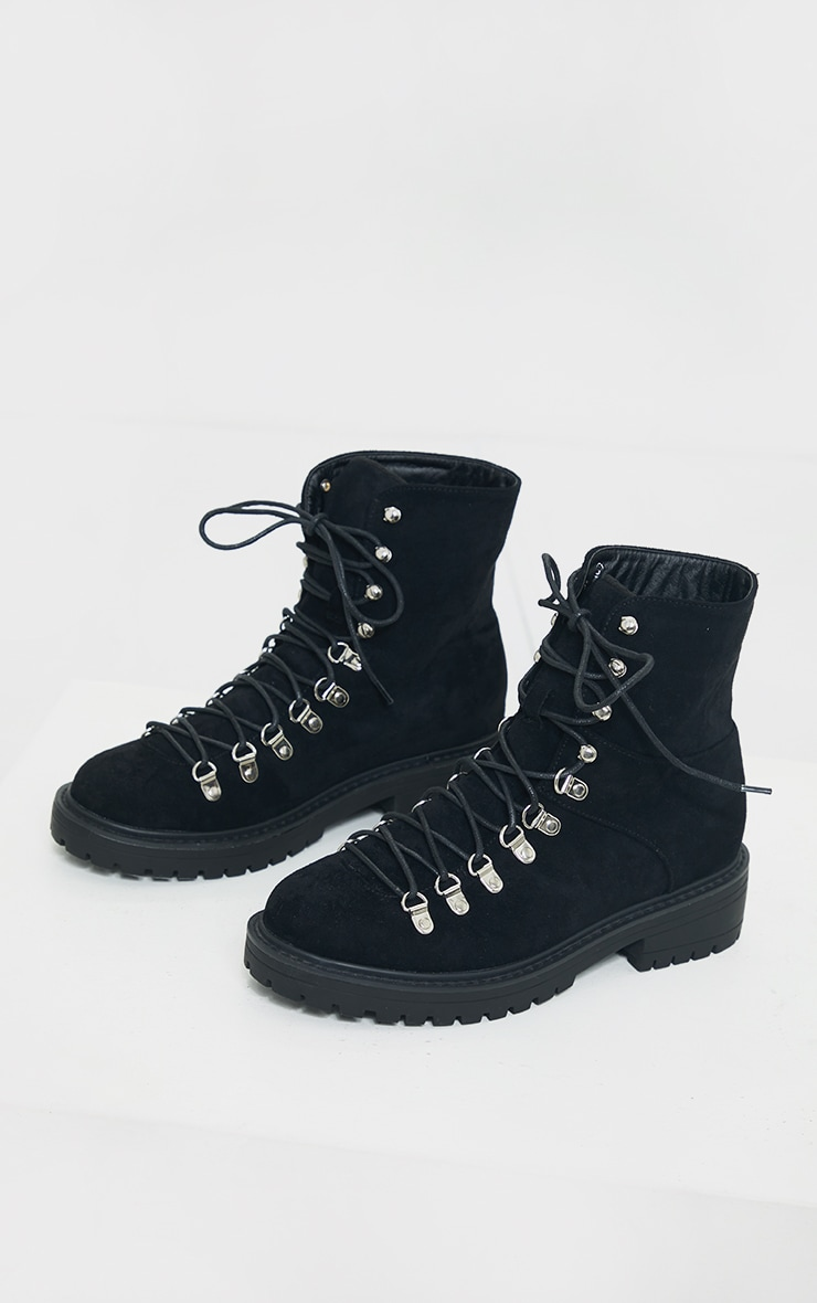 Black Borg Faux Suede Lace Up Hiker Boot 4