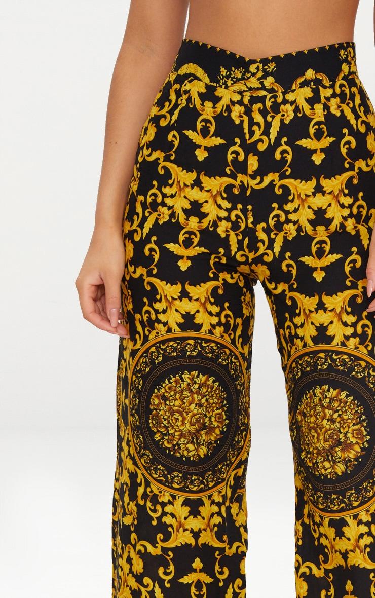 Black Woven Scarf Print Pants 5