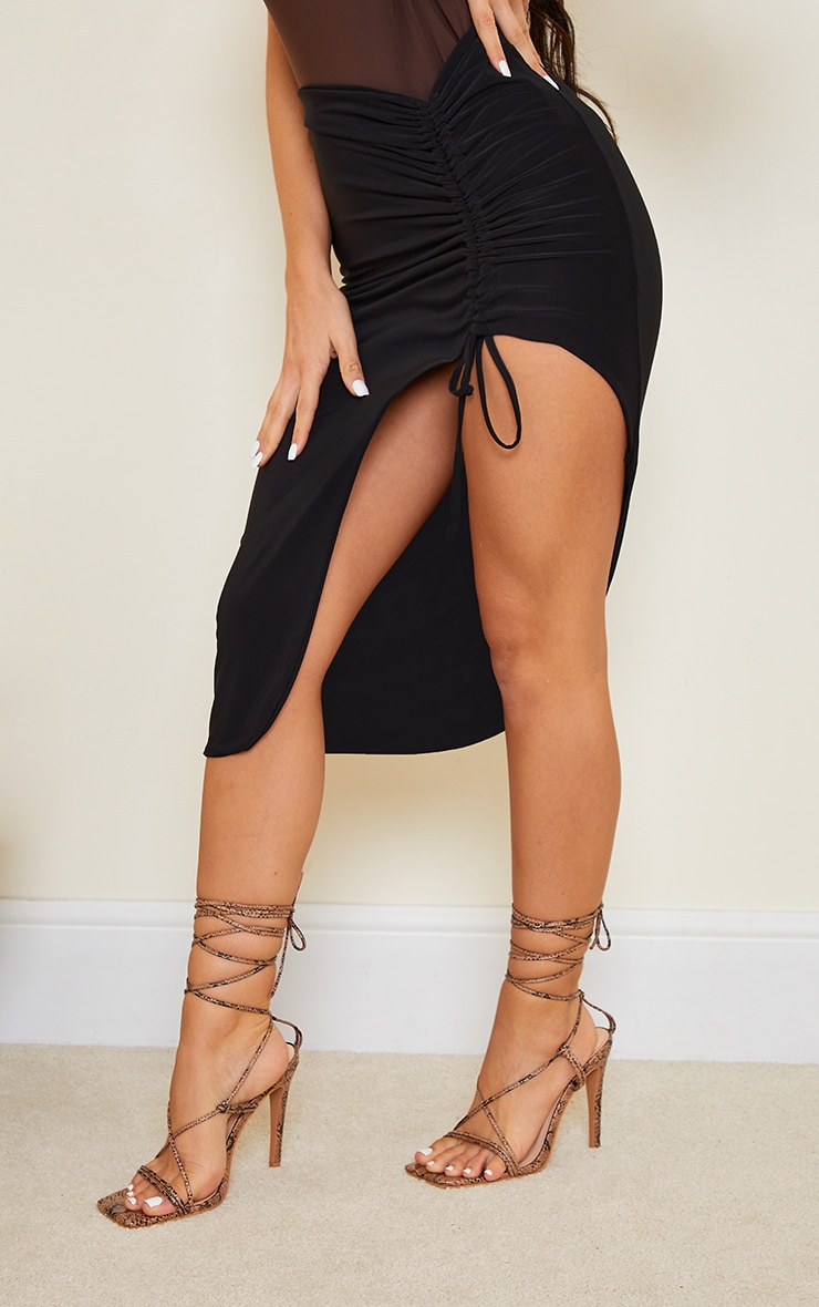 Black Slinky Ruched Side Split Midi Skirt 2