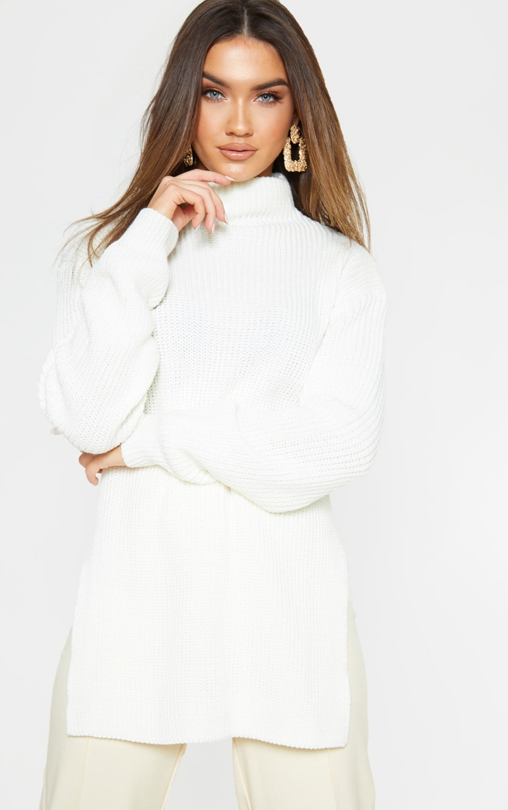 Cream High Neck Oversized Sweater 1