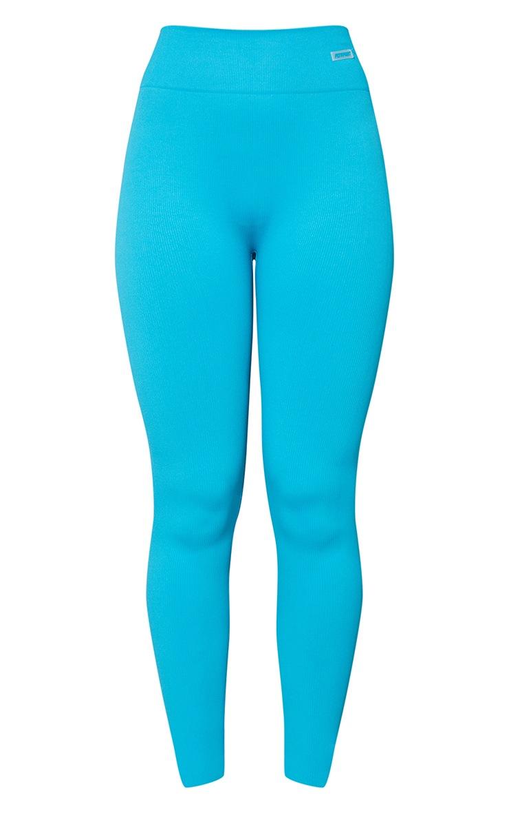 Aqua Seamless Rib Badge Sport Leggings 5