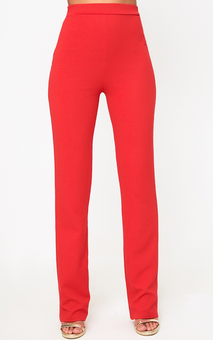 Red Straight Leg Suit Trousers 2