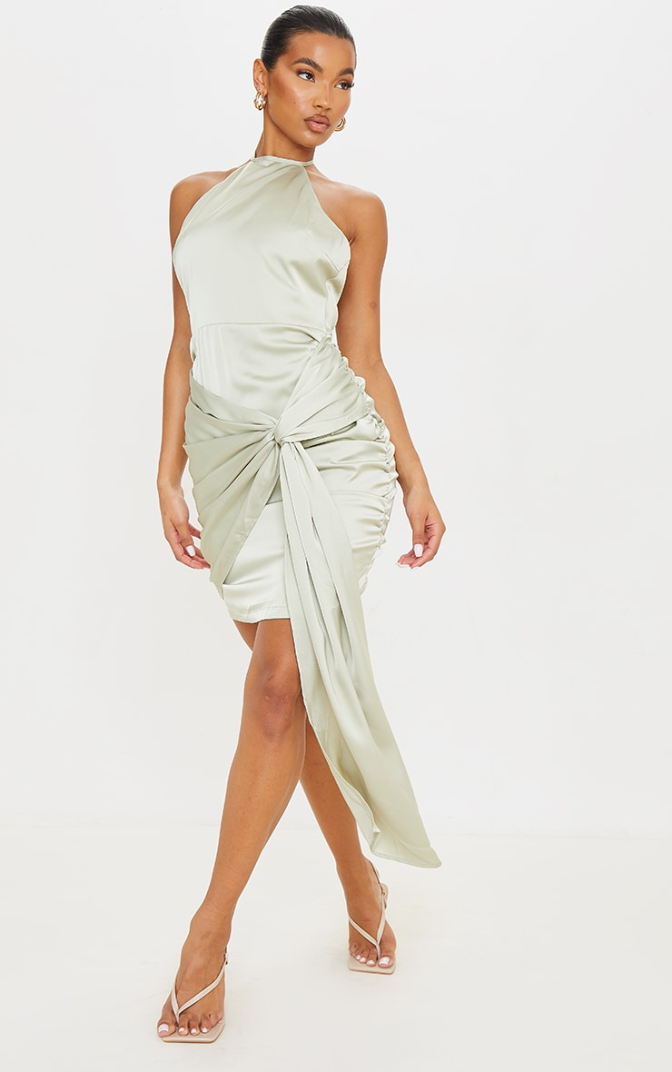 Sage Green Satin Halterneck Ruched Drape Detail Bodycon Dress image 1
