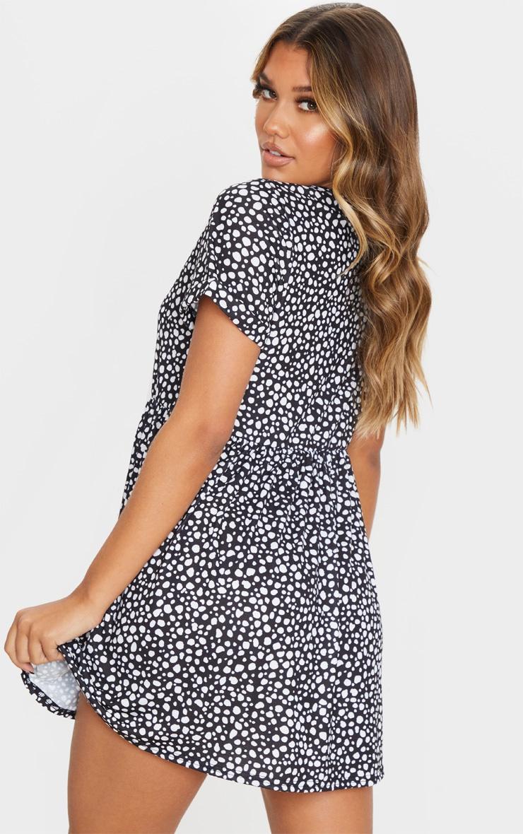 Black Dalmatian Print Short Sleeve Smock Dress 2