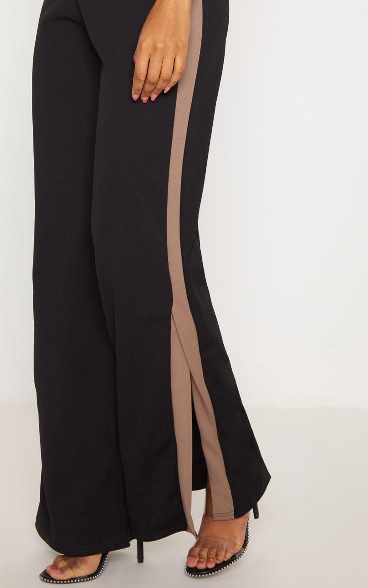 Black Contrast Side Panel Split Hem Wide Leg Trouser 5