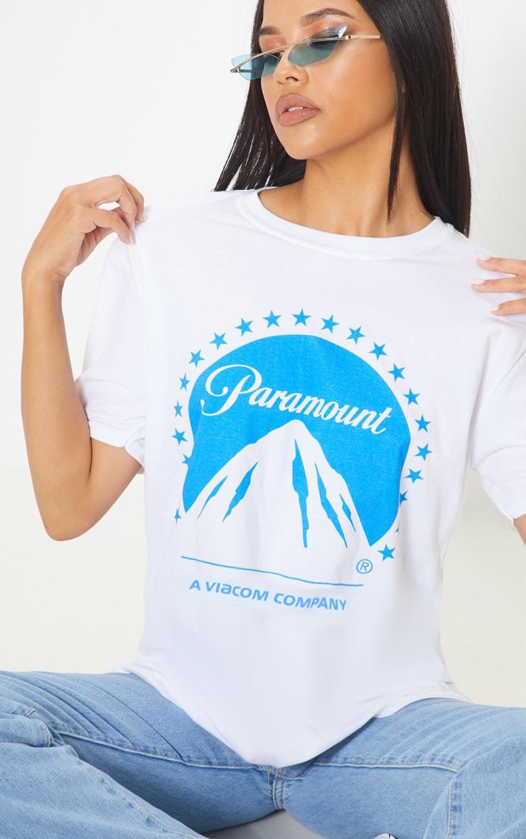 White Paramount Slogan Oversized T Shirt 1