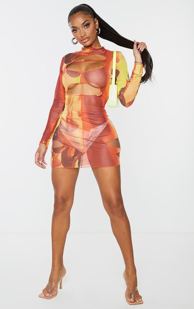 Shape Orange Mix Print Sheer Mesh Cut Out Bodycon Dress 4