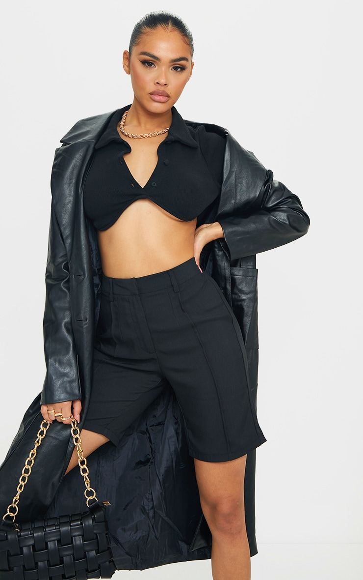 Black Woven High Waisted Tailored Short 4