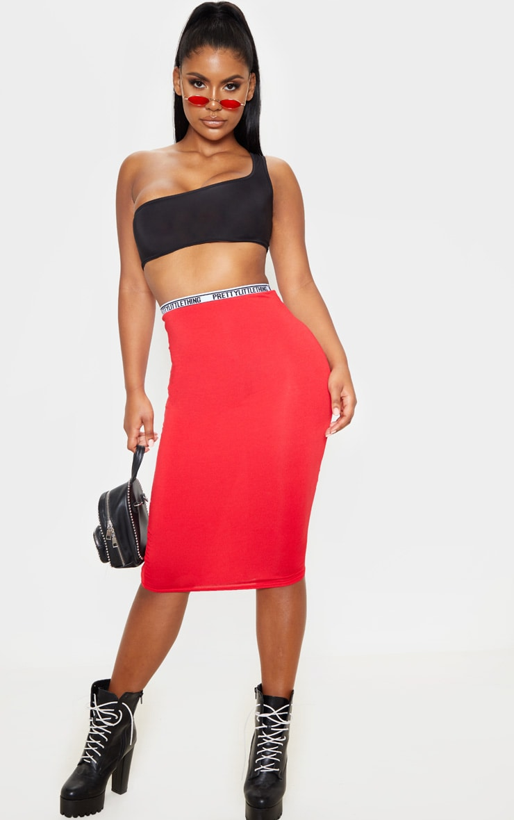 PRETTYLITTLETHING Red Tape Jersey Midi Skirt  1