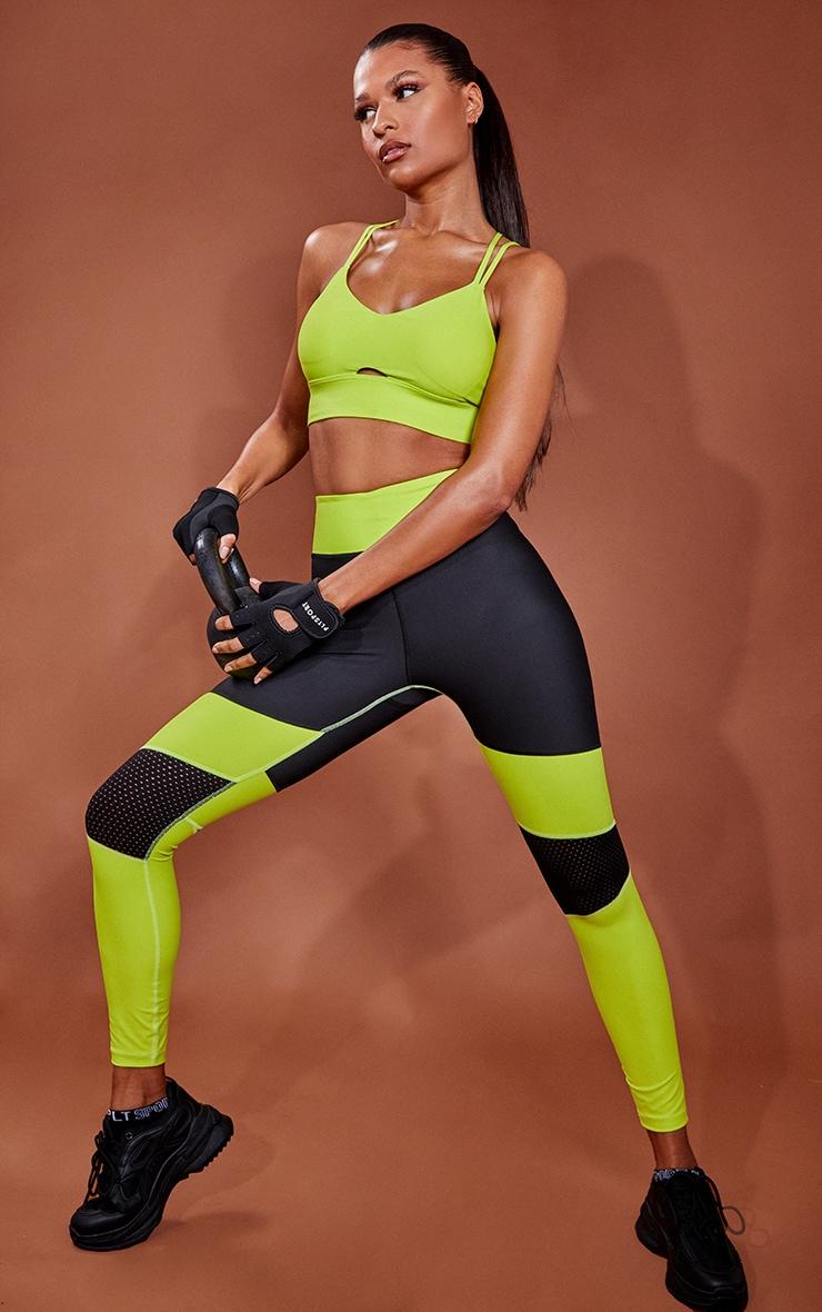 Lime Premium Contrast Panel High Waist Gym Leggings 1