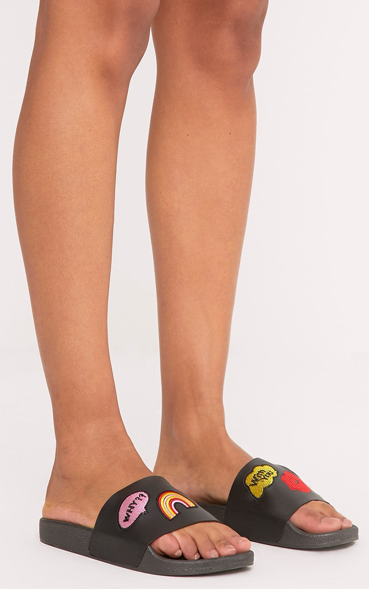 Cristina Black Applique Sliders 2