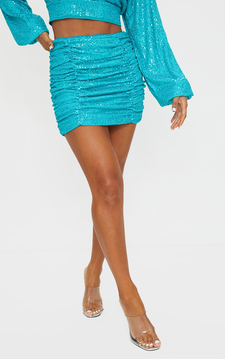 Light Blue Sequin Ruched Double Seam Detail Mini Skirt 2
