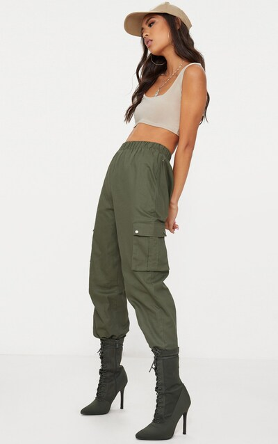 Khaki Pocket Detail Cargo Trousers