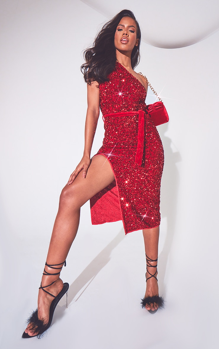 Red Premium Velvet Sequin One Shoulder Tie Waist Midi Dress image 1