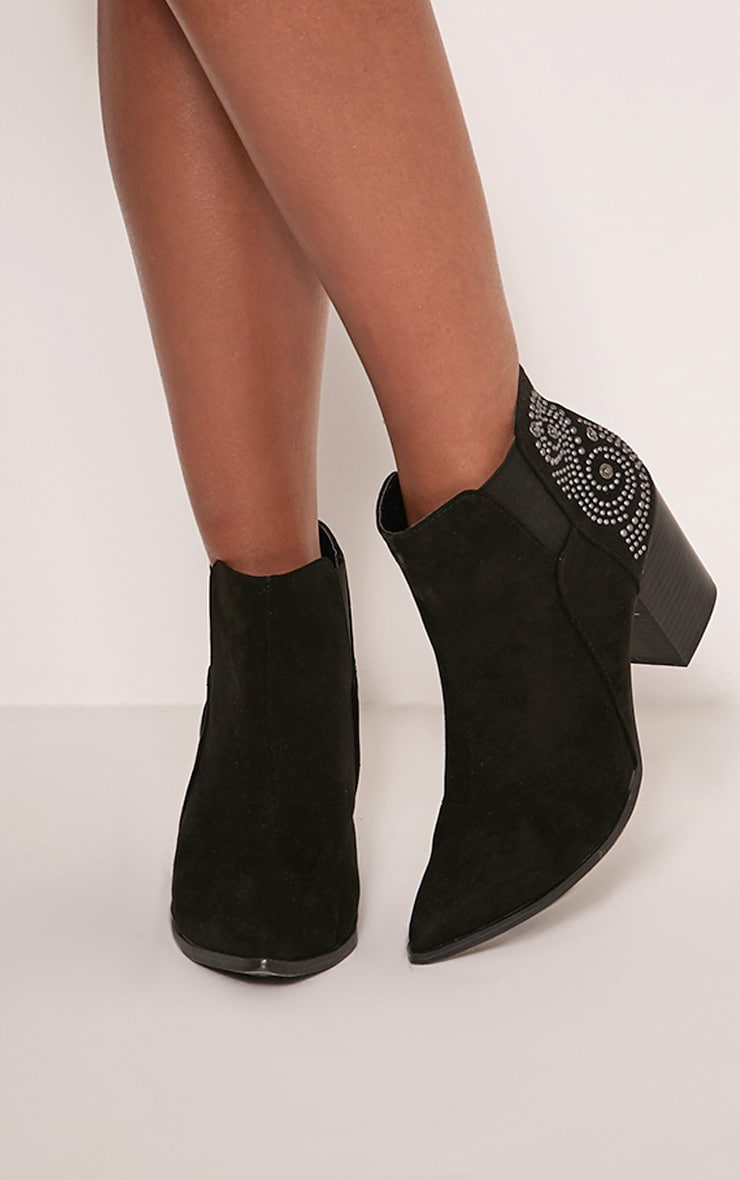 Willow Black Faux Suede Studded Ankle Boots 2
