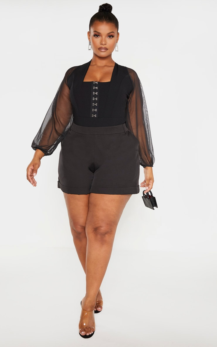 Plus Black Eyelet Detail Mesh Sleeve Bodysuit 4