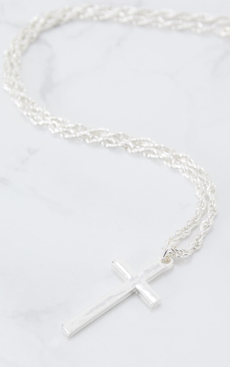 Silver Chunky Chain Cross Pendant Necklace 4