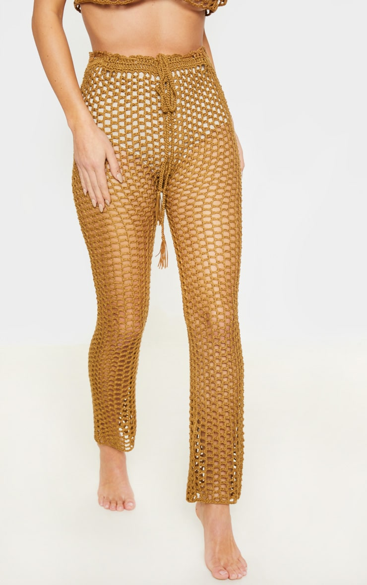 Taupe Crochet Trousers  2