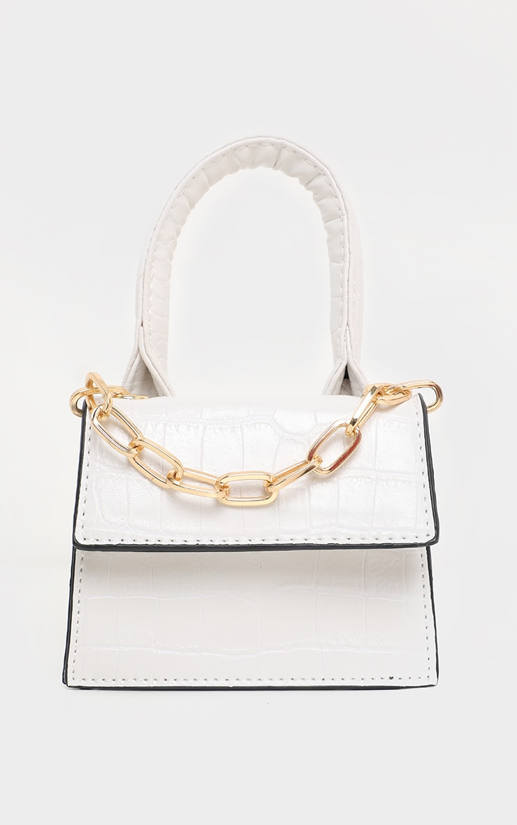 White Croc Micro Mini Chain Grab Bag 2