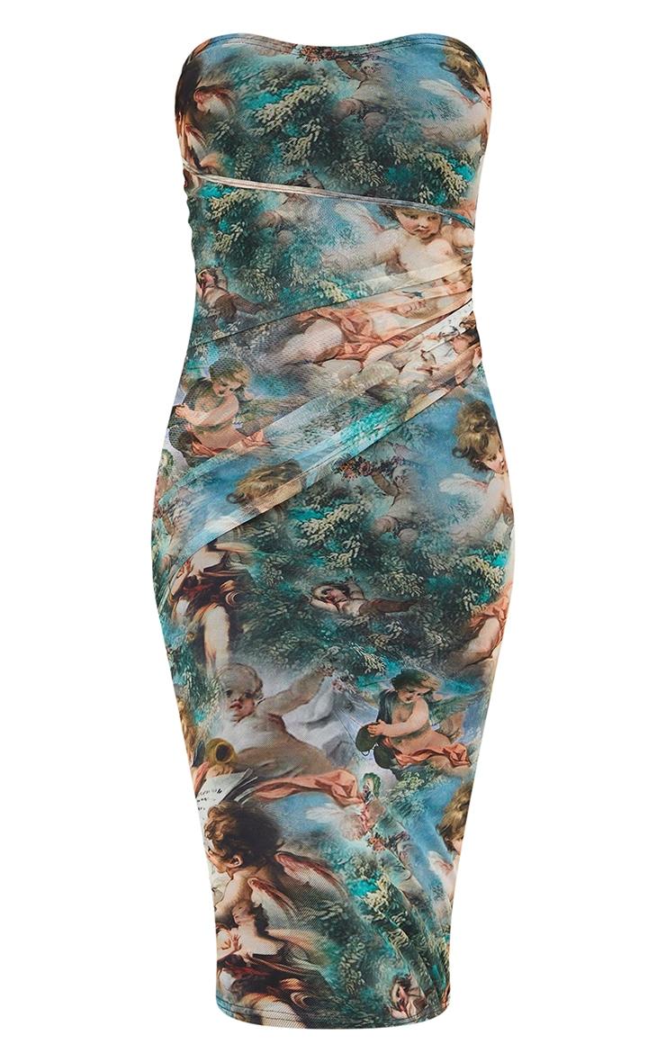 Multi Renaissance Print Mesh Bandeau Drape Midi Dress 5