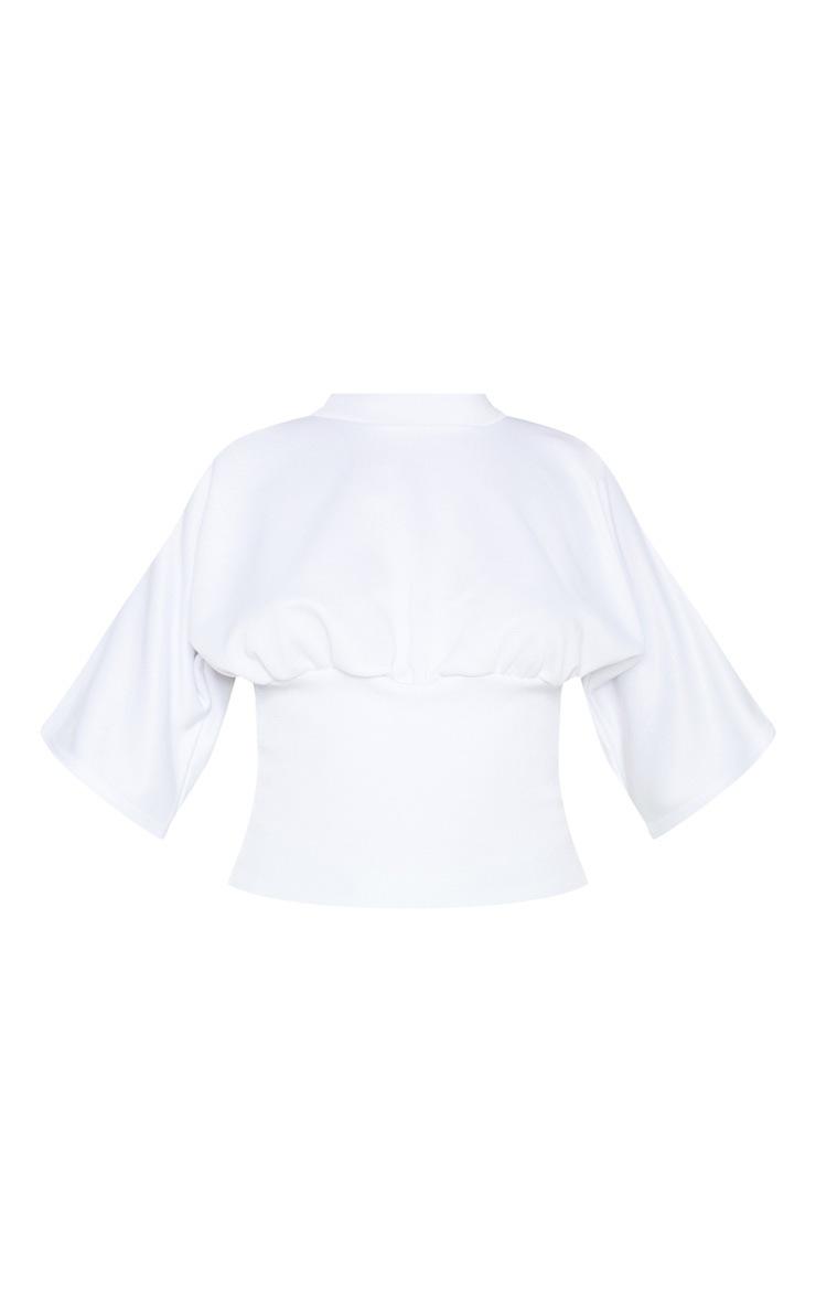 White Rib Waist Short Sleeve Sweat Crop Top 3