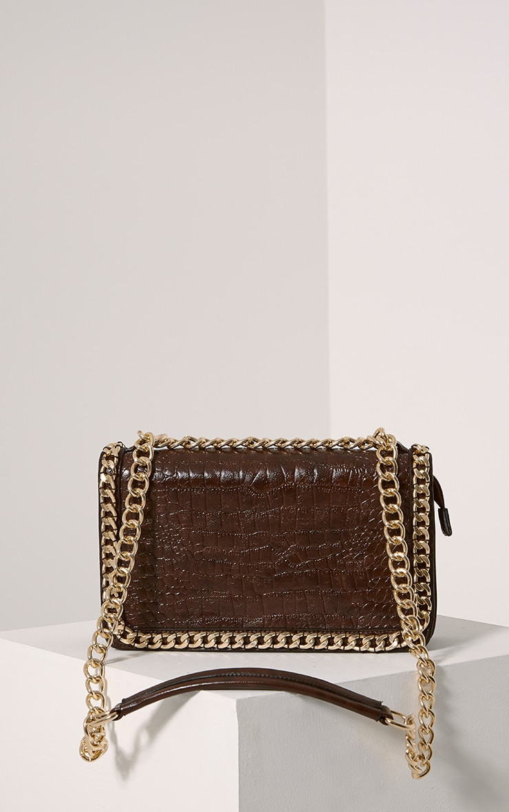 Ophelia Mocha Chain Detail Bag 6