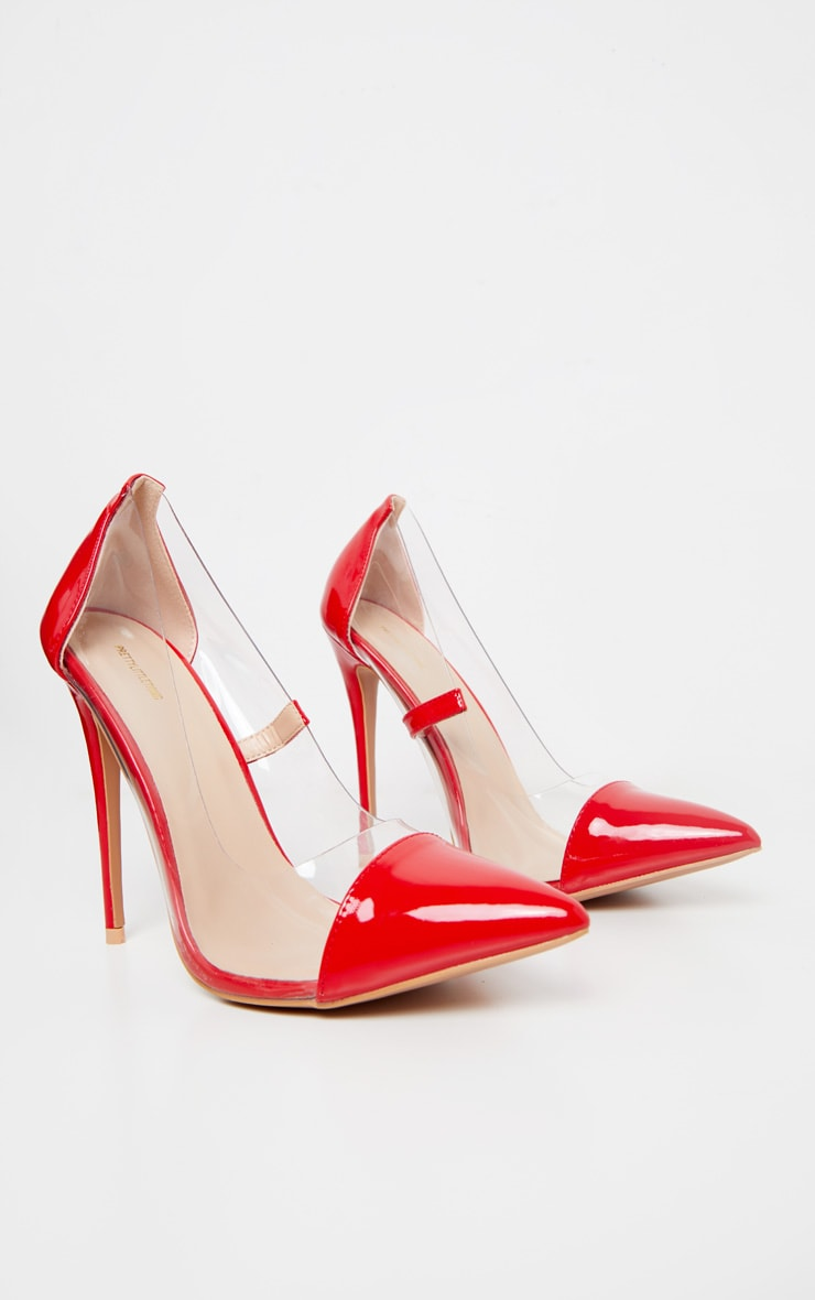 Red Patent Clear Court Shoes 3