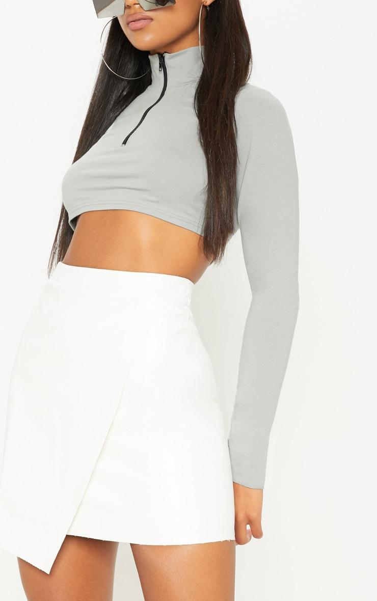 White Faux Leather Wrap Mini Skirt 6