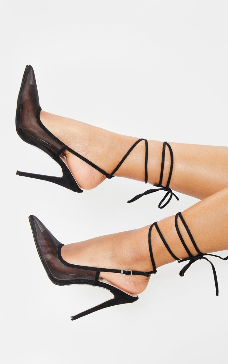 Black Mesh Ankle Tie Court Shoe 1