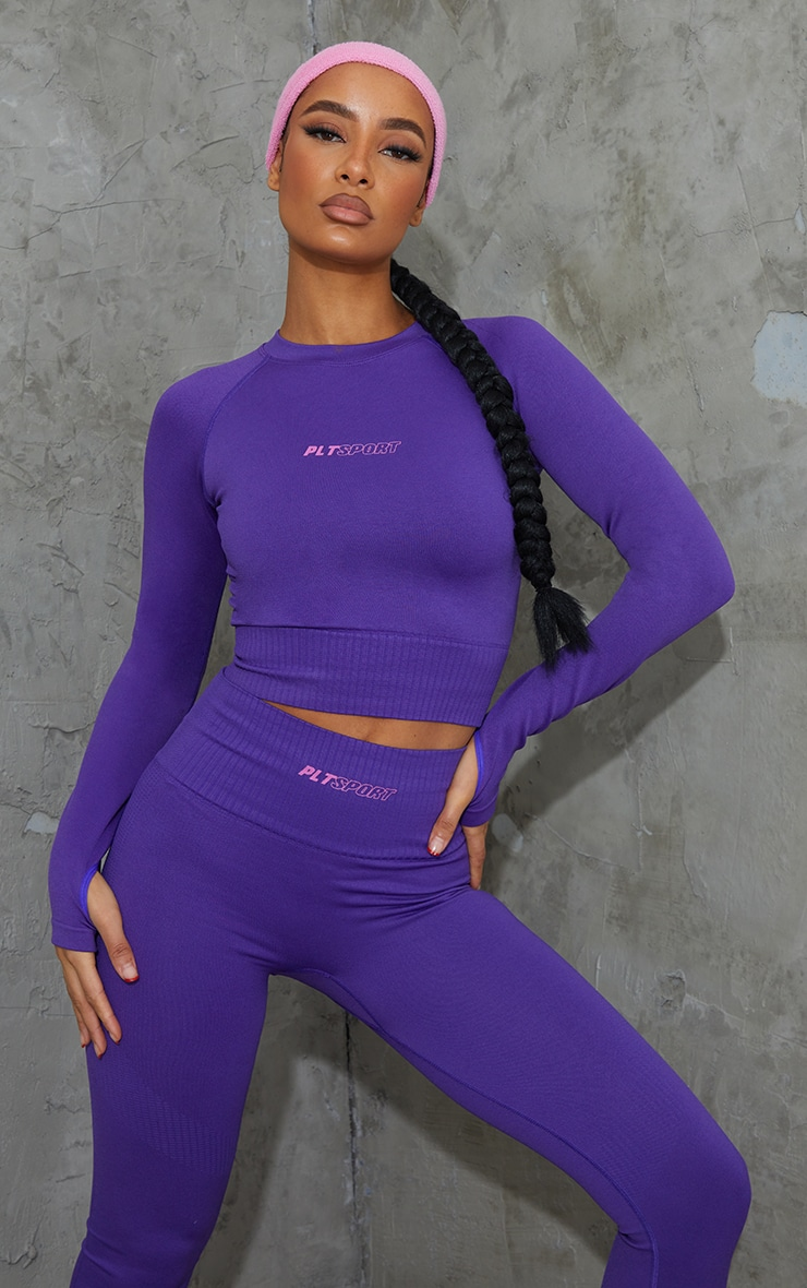 Purple Long Sleeve Seamless Sports Top 1