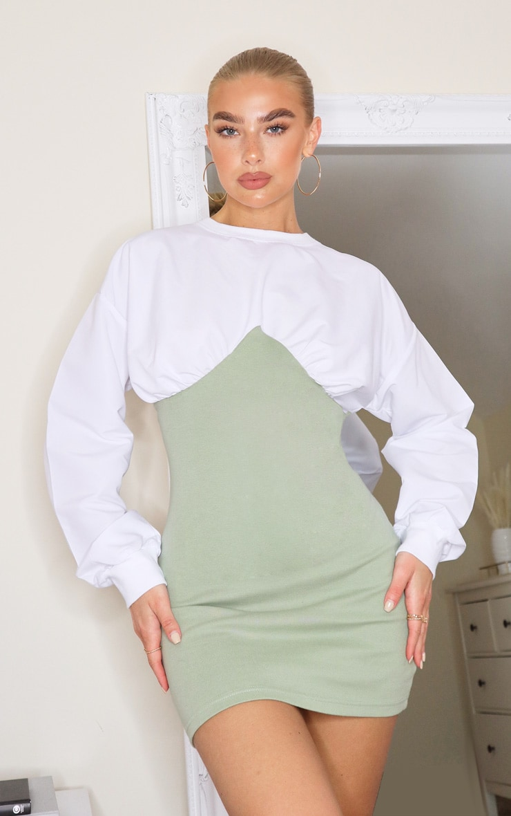 Sage Green Woven Crew Neck Sweat Under Bust Sweater Dress 1