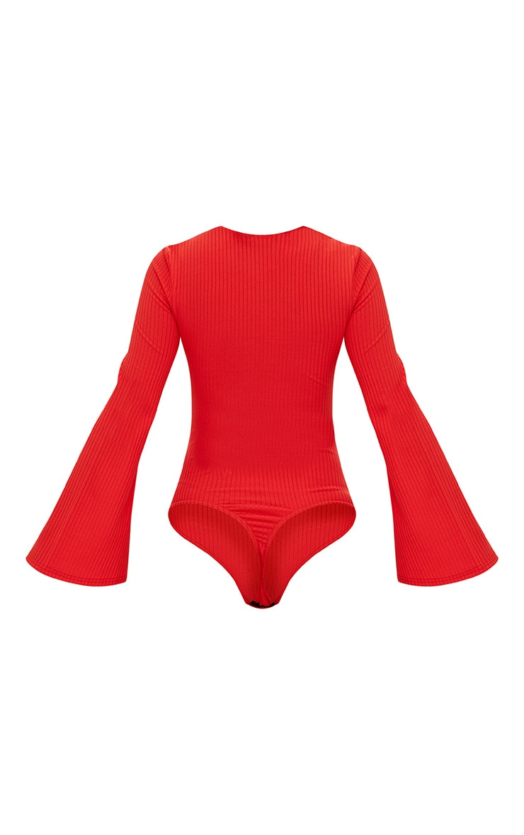 Red Lace Up Front Flare Sleeve Thong Bodysuit 3