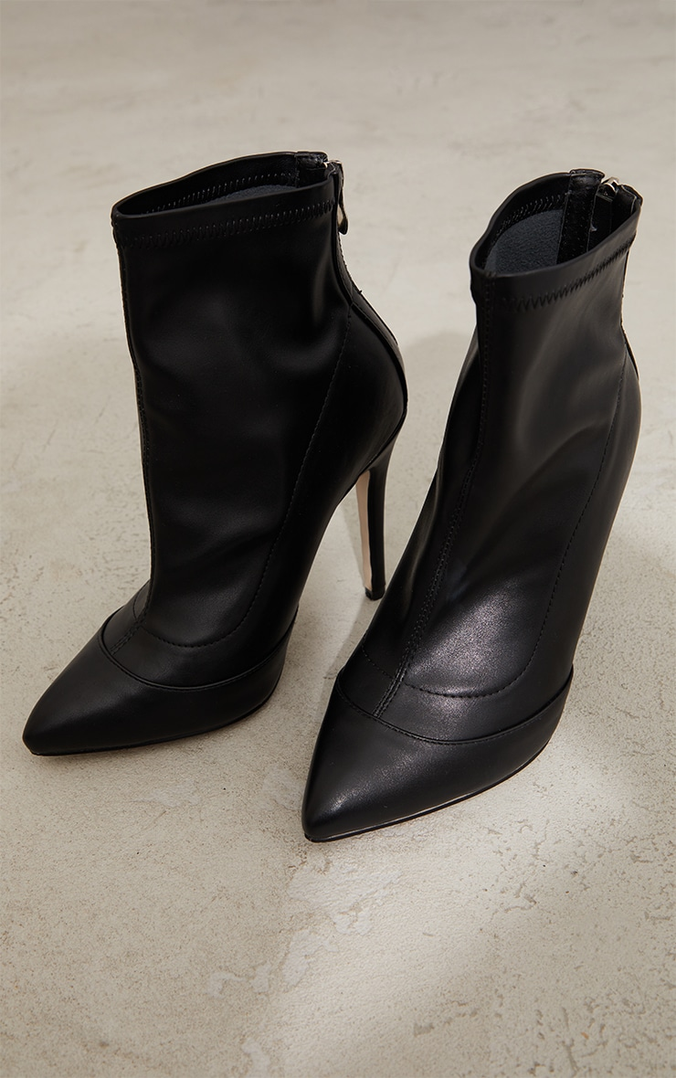 Black WIDE FIT Pu Pointed Ankle Sock Boots 3