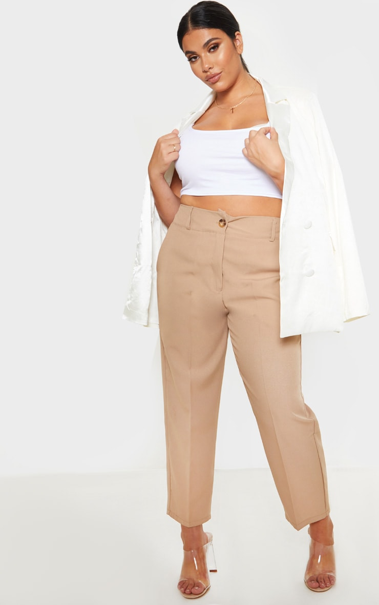 Plus Camel Woven Tapered Pants  1