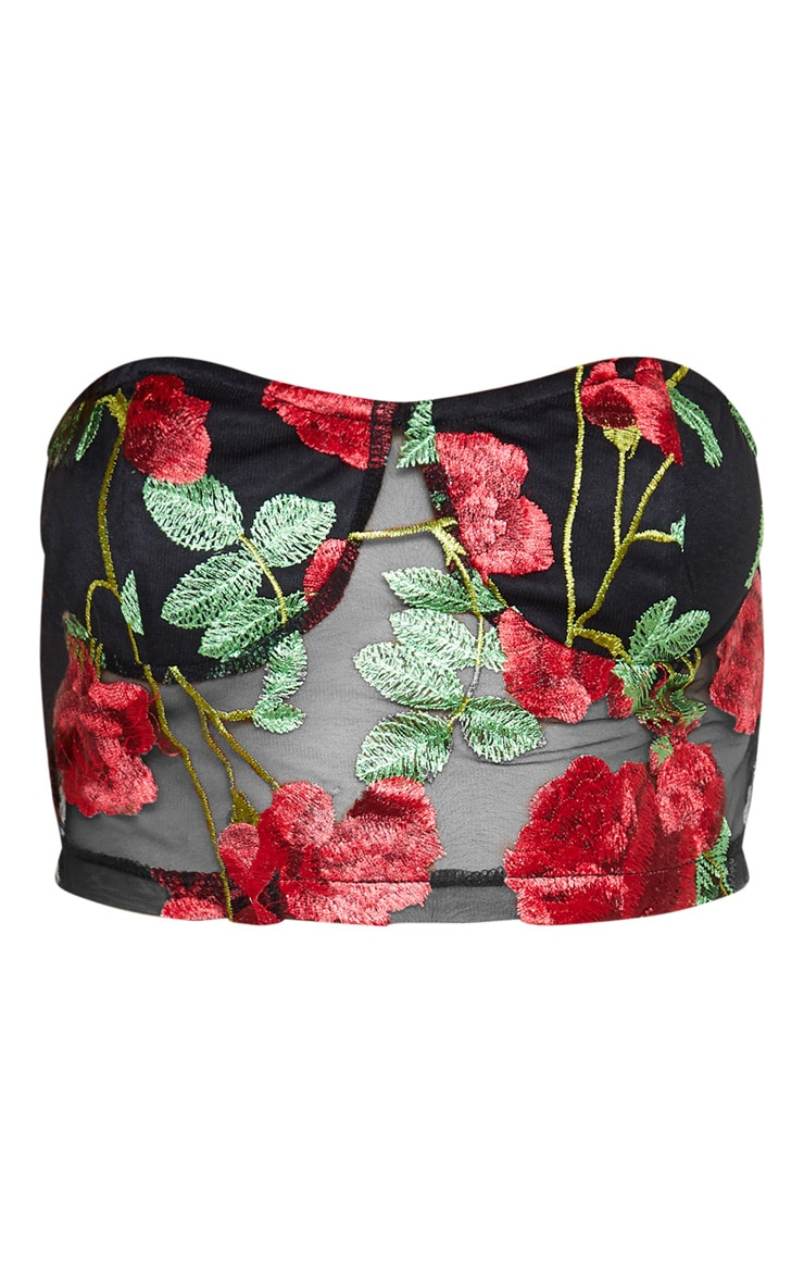 Red Floral Mesh Embroidered Bandeau 4
