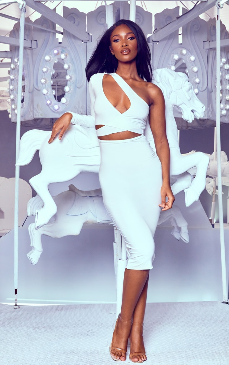 White Cut Out One Shoulder Midi Dress