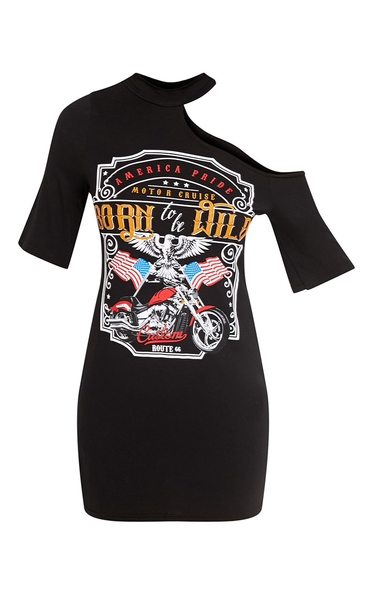 Born To Be Wild Black Slogan T-Shirt Dress 3