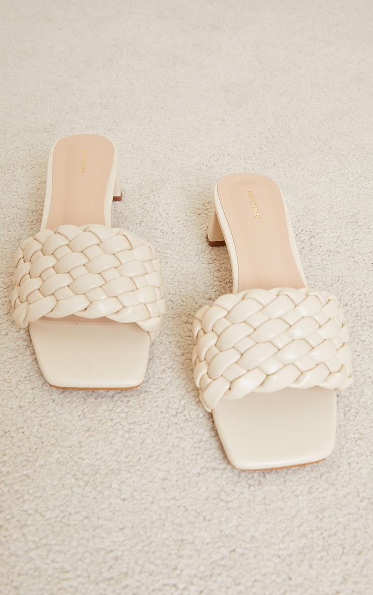 Cream Plaited Strap Low Block Flare Heel Mules 4