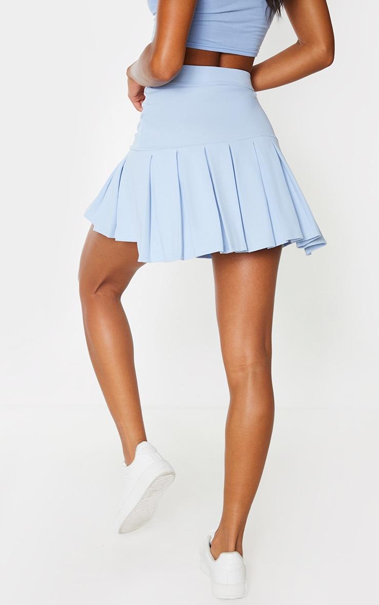 Baby Blue Pleated Step Hem Mini Skirt 3