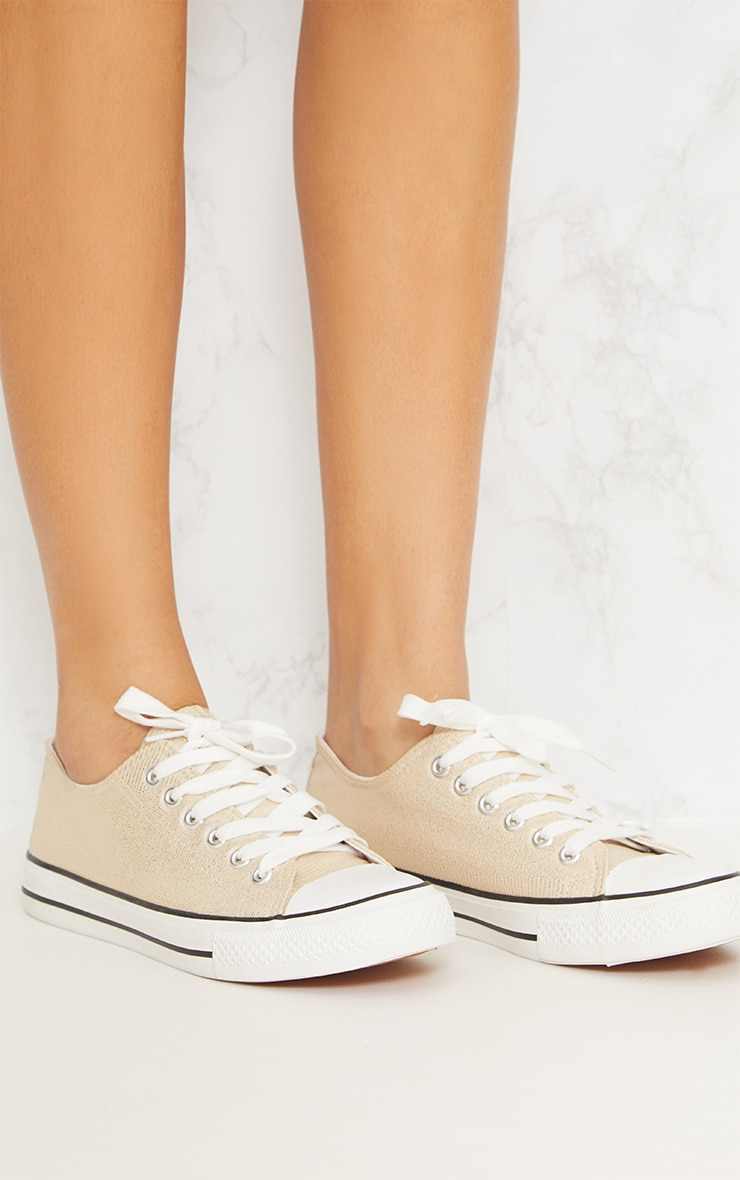 Gold Lace Up Front Trainer 4
