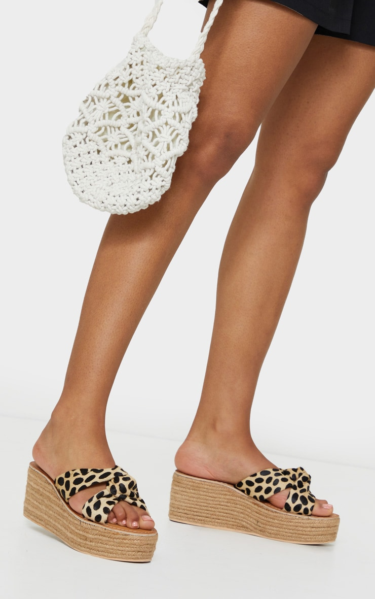 Natural Tiger Print Leather Espadrilles Wedges 1