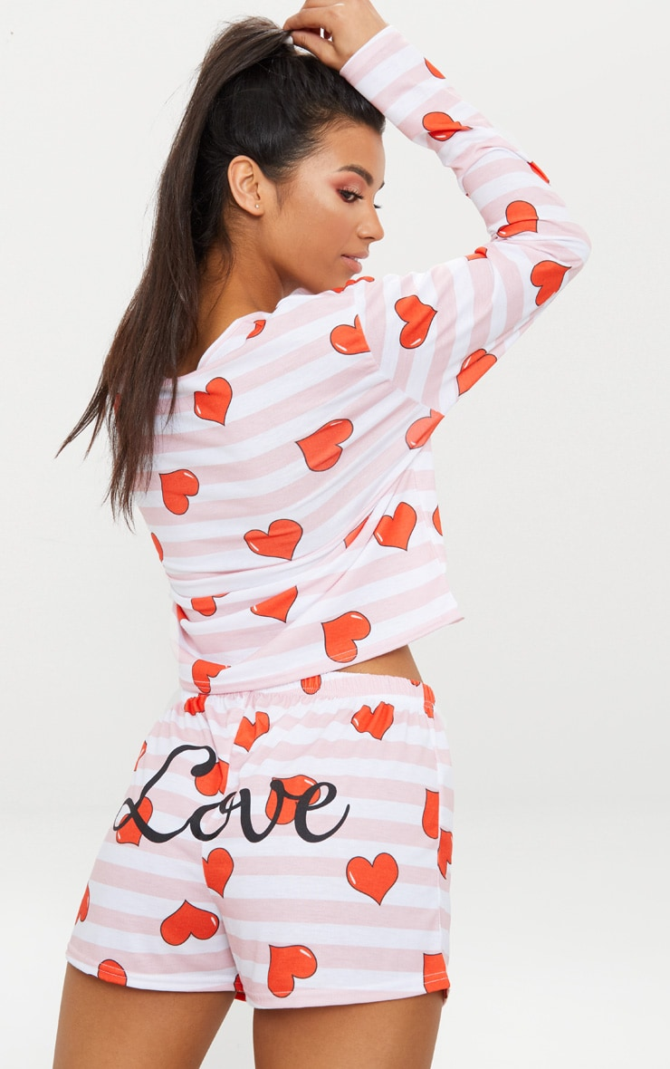 Pink Stripe Heart Print LOVE Slogan PJ Set 1