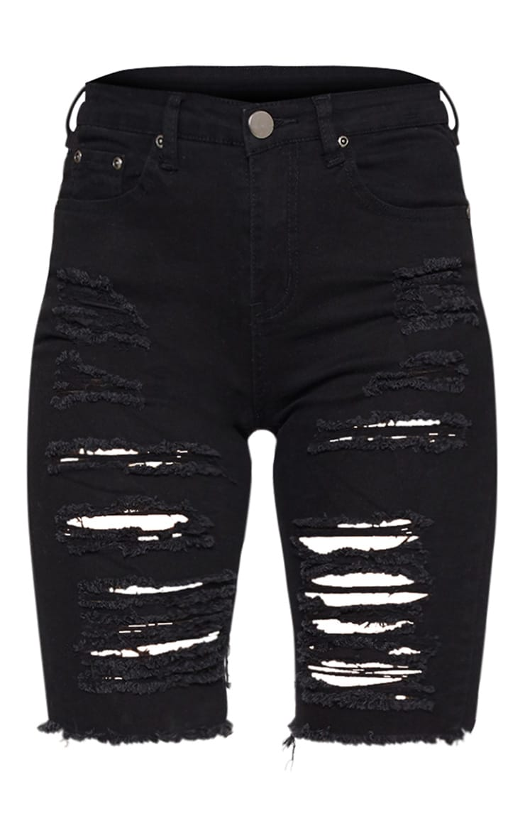 Black Distressed Denim Cycling Shorts 3