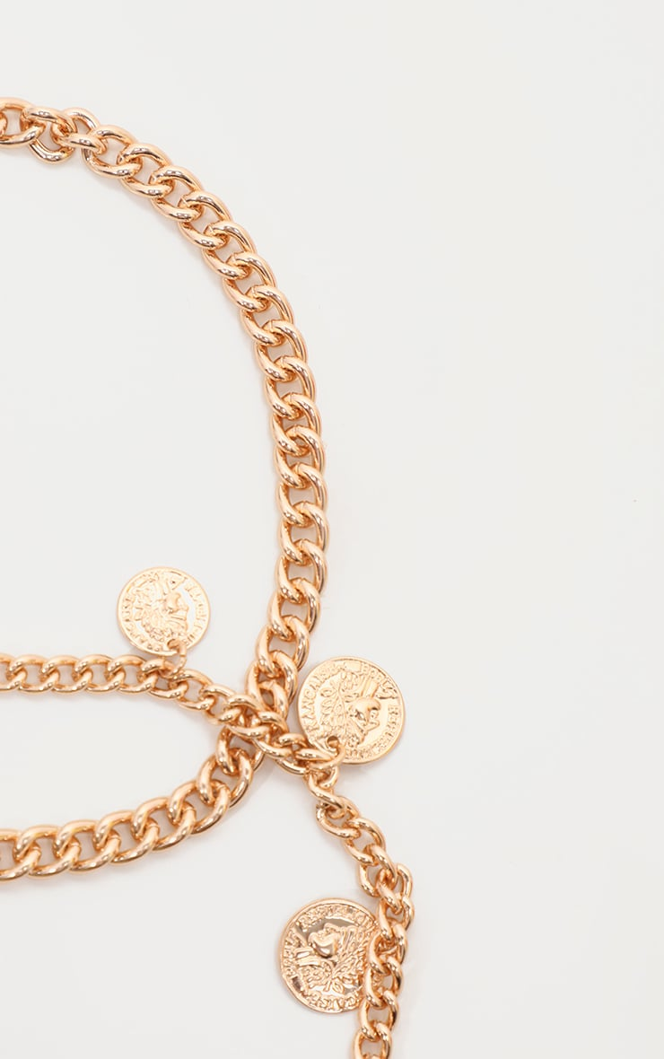 Gold Multi Coin Charm Double Layer Anklet 4
