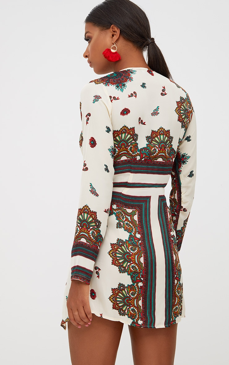 White Printed Silky Long Sleeve Wrap Dress 2
