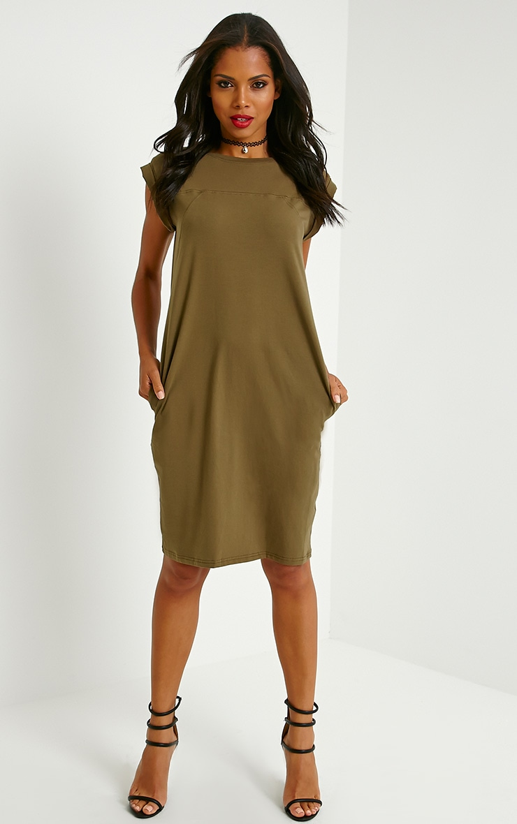 Tessie Khaki T-Shirt Dress 1