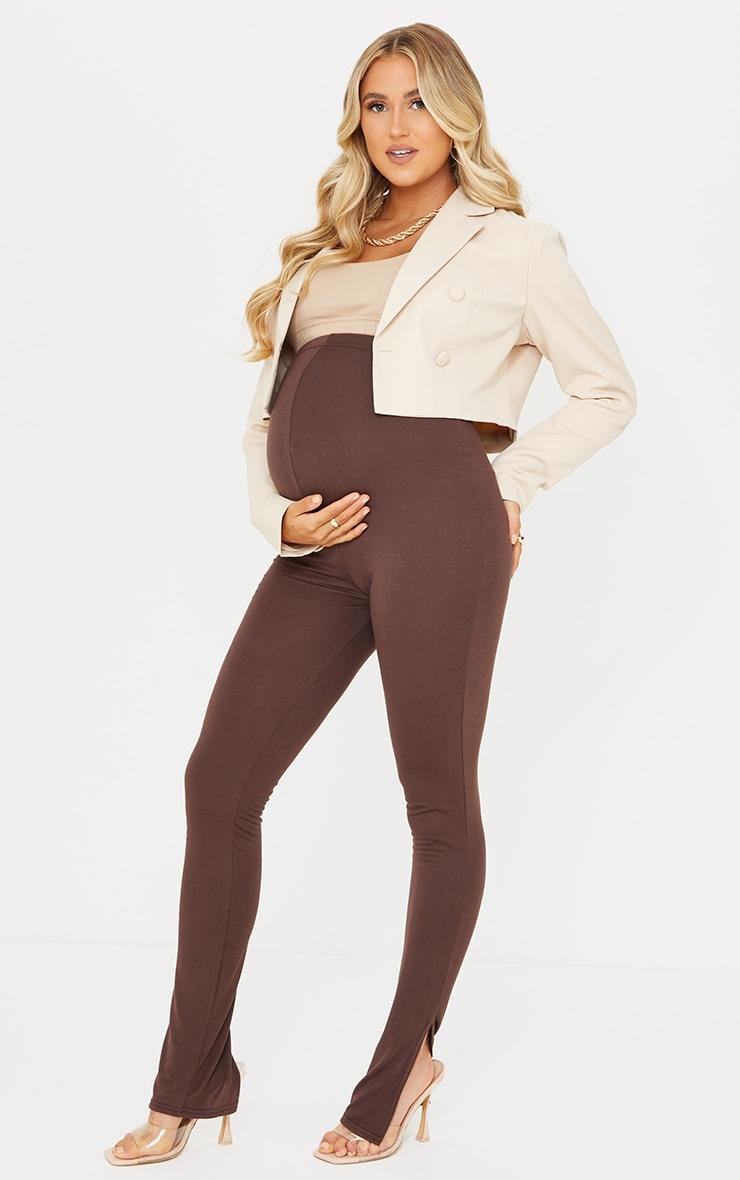 Maternity Chocolate Basic Split Hem Leggings 1