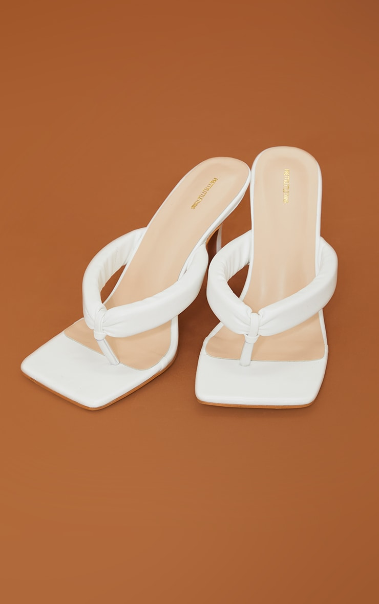 White Pu Tube Strap Toe Thong Mid Heel 4