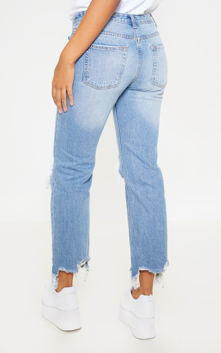 Mid Wash Low Rise Distressed Knee Rip Jeans 4